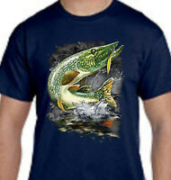 Jumping Northern Pike Lake River Fishing Front Design Tee T-Shirt New