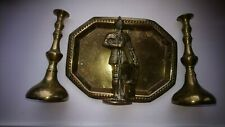 Antique Brass Set - Tray, Candle Sticks and Knight Match Holder