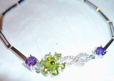 Peridot Flower & Amethyst 925 Sterling Silver size 6.5 - 7.5 w Gift Box New Tag