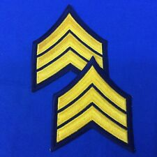 "Police Sergeant Chevron Patches 3.5"" Dk. Navy W/Yellow Set of 2 FREE SHIP P17-6"
