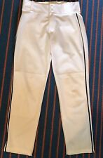 Alleson Athletics White w/ Navy Blue Stripe Baseball Pants Youth Large