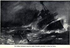 1914 U-Boot-Krieg: Deutsches U-Boot bring die FORMIDABLE zum sink* antique print