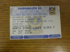 25/03/2000 Ticket: Portsmouth v Swindon Town  . Bobfrankandelvis (aka Footy Prog