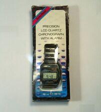 Vintage Radio Shack Digital LCD Watch Stainless Steel Band w/Box & Manual Xlnt!