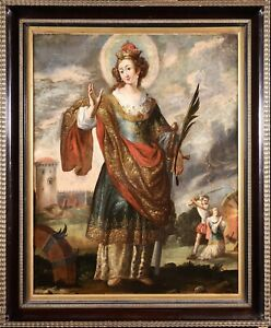 17th CENTURY LARGE FRENCH OLD MASTER OIL CANVAS - ST CATHERINE OF ALEXANDRIA