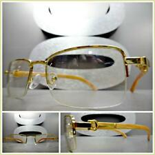 Mens CLASSY SOPHISTICATED MODERN Clear Lens EYE GLASSES Gold & Wood Wooden Frame