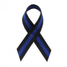 Thin Blue Line Fabric Awareness Ribbons - 250 Ribbons with Safety Pins
