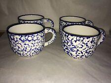 Lot of 4 Crate Barrel Italy Blue Splatter Spongeware Coffee Mug Cup Mint