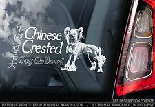 Chinese Crested Dog - Car Window Sticker - Powder Puff Hairless Art Sign - TYP1