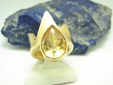 Großer Stein Citrin Ring 585 Gold 14 kt Handarbeit Krone Gr 52 Matt Goldring