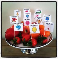 12 MR MEN BOOK COVER CUP CAKE FLAG Birthday Party Baby Shower Topper