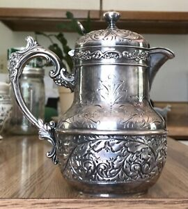 1892 Attached Covered Carafe Pitcher Derby Silver Co Quadruple 1652