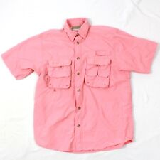 Rugged Earth Nylon Fishing Shirt Button Up Caped Venting Water Resistant Utility