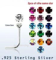 2pcs. of color  22g ~1.5mm Prong Set C.Z .925 Sterling Silver L-Shaped Nose Stud