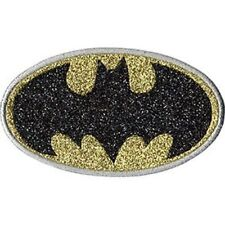 BATMAN LOGO - SILVER GLITTER - EMBROIDERED PATCH - BRAND NEW - 0181