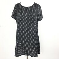MASAI Black White Polkadot Sheen Long Lagenlook Tunic Artist Smock Top M 12 14