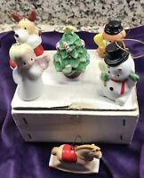 "Vintage Set Of 6 Porcelain Christmas Ornaments Homco In Box .each 2-1/4"" EUC"