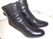Ecco Black Leather Ankle Boots Side Zipper Buckle womens Size 41