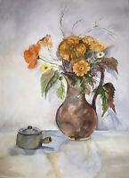 "ORIGINAL ART Watercolor Painting Orange Flowers Joan Perry (1928-2019) 24""x 18"""