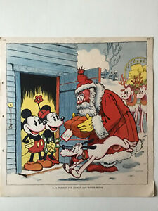 A Present for Mickey and Minnie Mouse. Vintage Print.