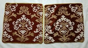 2 Pier 1 Brown Rust Velvet Pillow Covers Embroidered Scroll Damask Design 18x18
