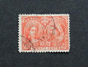 CANADA - 1897 SCARCE QV JUBILEE 20c USED RR