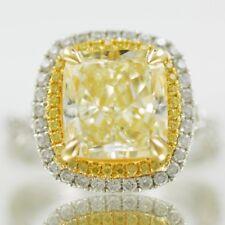 Fancy Yellow Cushion Cut Diamond Engagement Ring 3.2 CTW GIA Certified 18k Gold