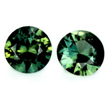 Certified 4.60mm Round Natural Sapphire 0.72ct Green Madagascar Matching Pair