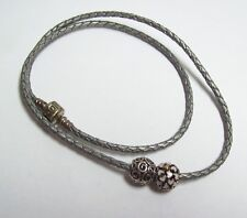 PANDORA Silver Leather Necklace w/ Sterling Burst of Hearts Charm & Scroll Charm