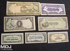 Lot of 7 Japanese Government Notes - 1 Centavo, 5, 10, 2x 1 Peso, 100 Pesos,1000