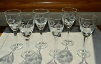 Set of 6 Cordial Glasses Etched Poppy Flower 2 oz Apertif Liqueur Saki