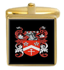 Stamps England Family Crest Surname Coat Of Arms Gold Cufflinks Engraved Box