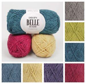 Drops Belle DK Luxury Cotton Double-knit Yarn Breathable Soft Knit Crochet 50gr