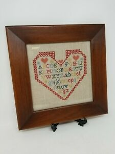 Framed and Finished Cross Stitch Heart With Alphabet Letters Nursery Sampler