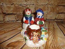 Snowman Family Christmas Holiday Ceramic Candle Holder Votive Tea Light