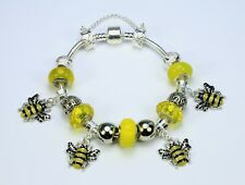 Bumble bee European charm bracelet, yellow glass beads, silver spacers nice gift