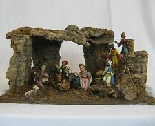 Vintage Christmas Nativity Set  Made in Italy Wood Bark Moss Jesus The Wise Men