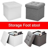 Folding Ottoman Storage Box Pouffe Seat Stool Home Chair Footstool Storage-Bench