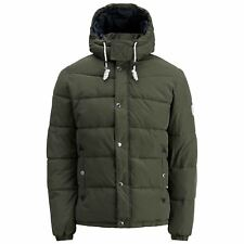 Mens Jacket Jack & Jones Figure Hooded Zip up Padded Bomber Coat Forest  Night Medium