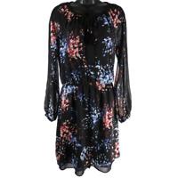 White House Black Market Black Multicolor Floral Sheer Long Sleeve Dress Sz 4