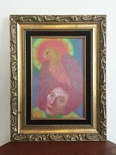 Authentic DOLORES CHIAPPONE original PASTEL ON WOOD gold ornate frame WOMAN HAWK