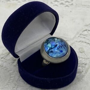 RETRO Atomic Look Statement Ring Size P Adjustable Blue Glass Silver Tone Huge