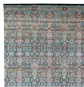 Samarkand Blue Hand Knotted Oriental Antique Style Oxidize Silk & Wool Area Rugs