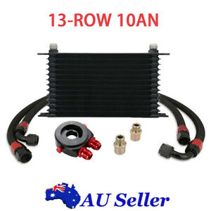 Universal 13-Row 10AN Engine Transmission Oil Cooler Filter Adapter Hose Kit New