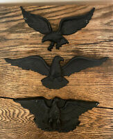 Lot of 3 Vintage Black Metal & Plaster Eagle Patriotic USA Wall Plaques Decor
