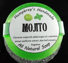 Men's MOJITO Shave Soap Puck, Unisex Glycerin, Beard Wash Lime Peppermint