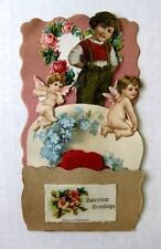 1920s Pull Down Pop Out Valentine's Day Card Display w/ Valentines Scraps