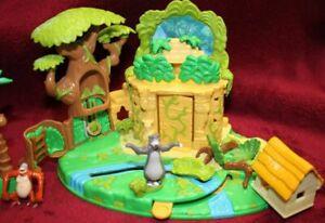 Polly Pocket Dschungelbuch  2 Figuren Palmen Hütte Bluebird Disney 1998 (A-D-4)