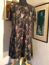 Fat Face Jersey Tunic Dress-Pretty Flower Print-Charcoal Grey-Pockets-8