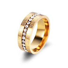 Mens Jewelry 14K Gold Plated CZ Pattern Groove Wedding Band Ring Size 9 Simple